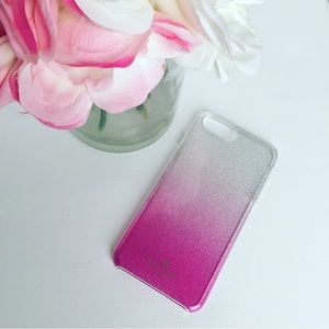 New Kate Spade Ombré Glitter Pink IPhone Plus Case